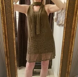 Olive green small lace dress